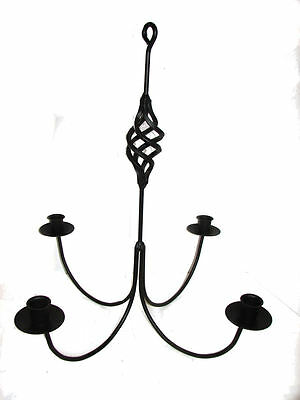 Black Wrought Iron 4 Arm Candle Chandelier BC USA Amish Made Farmhouse Garden