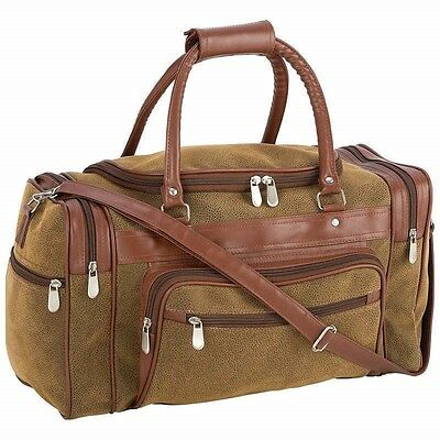 """17"""" Brown Vegan Leather Duffle Tote Bag Gym Travel Carry On Mens Satchel Luggage"""