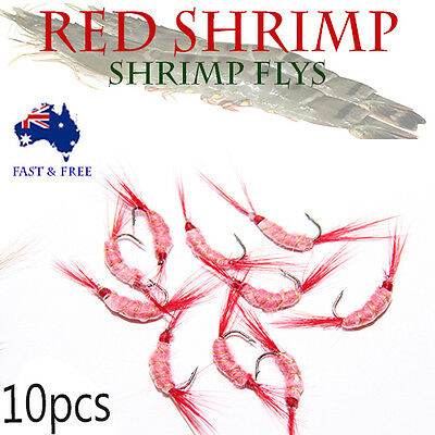 Red Shrimp Fly Fishing Lures Freshwater Flies Shrimps Bugs  BASS BREAM Trout