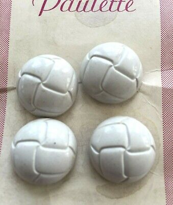 Vintage Glass Buttons - 1940's 4 White Soccer Ball Design Buttons