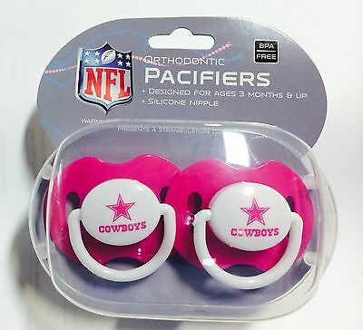 Dallas Cowboys PINK Baby Infant Pacifiers NFL NEW 2 Pack SHOWER GIFT! girls