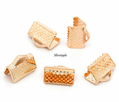 20 x TEXTURED END CAPS CLAMPS  10mm for KUMIHIMO & RIBBON   ROSE GOLD COLOUR