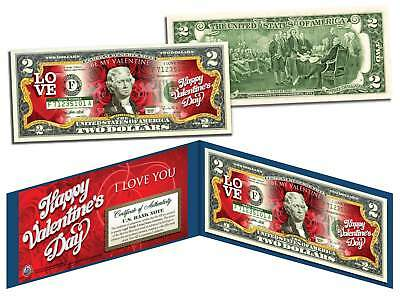 HAPPY VALENTINE'S DAY Keepsake Gift Colorized $2 Bill US Legal Tender *Red Roses