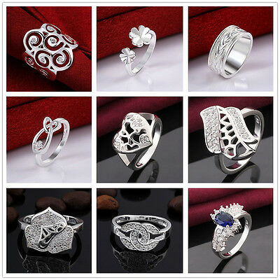 Women Multi Design Silver Plated US size 7, 8 Cocktail Ring Crystals Stones