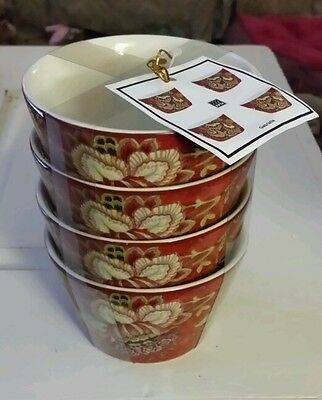 222 Fifth Gabrielle Red Round Soup, Dessert,  Snack Bowls Set of 4