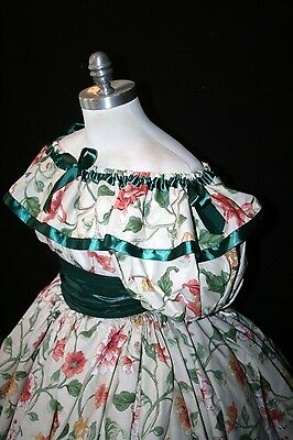 "*Custom-floral/green/orange/pink civil war victorian ""Gone with the wind"" dress"