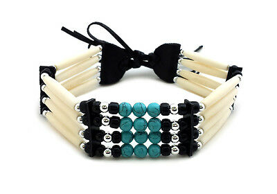 Traditional Native American Style 4 Row Buffalo Bone Hairpipe Choker Necklace