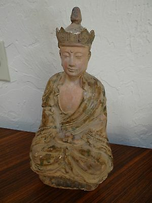 "antique Chinese Ming pottery buddha green ,ochre glaze 13"" unglazed features"