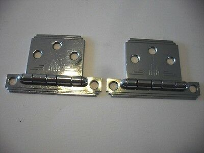 Vintage CHROME Cabinet Door HINGES Flush Mount Stair Stepped Edge Design