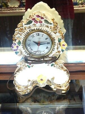 Vintage Sessions Gilt & Painted Ceramic Floral Electric Mantle Clock 10.5""