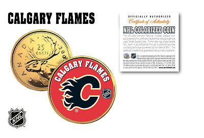 CALGARY FLAMES NHL Hockey 24K Gold Plated Canadian Quarter Coin * LICENSED *