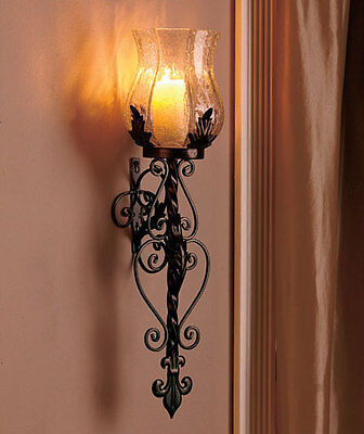 Set of 2 Black Glass & Metal Candle Holder Hurricane Wall Sconces Vintage Decor