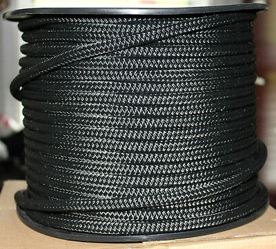 8mm x 100m Polyester Double Braided YACHT Rope ~SOLID BLACK~STRONG 1341kg