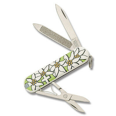 Victorinox Classic Edelweiss Design Lime Green Print New In Box