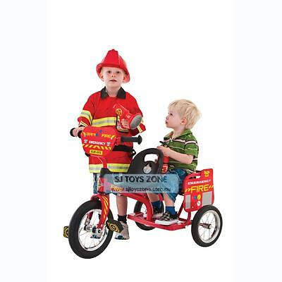 NEW Eurotrike Kids Tricycle Tandem Trike Fireman Ride On Bike With Two Seats
