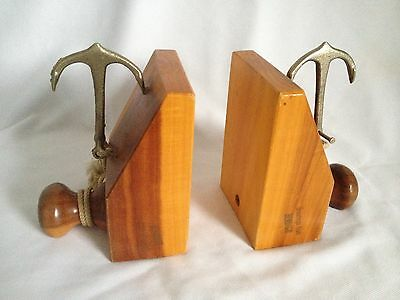 Pair Of Vintage C1960's Wooden Bookends With Anchors - Greetings From Bendigo