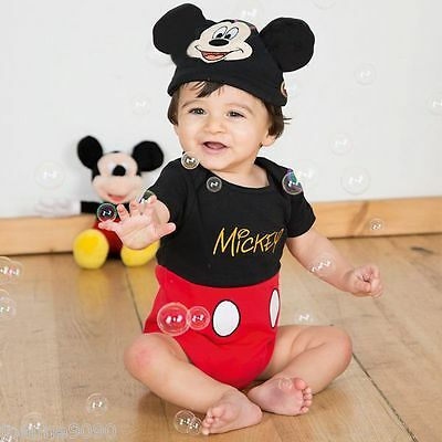 Baby Boys Girls Toddler Disney Mickey Mouse Fancy Dress Costume Outfit Bodysuit