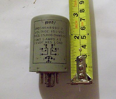 Recovered Plug-In Relay 150VDC 25,000 Ohm coil, 2 c/o 5A @ 24V, Octal Base