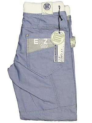 Boys Kids Jeans EZB292 Light Blue Cuffed Leg Designer All Sizes 24-29