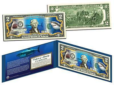 GREAT WHITE SHARK Collectible Legal Tender US Colorized $2 Bill w/Folio & COA