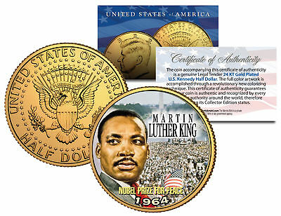 MARTIN LUTHER KING JR. 24K Gold Plated JFK Half Dollar US Coin NOBEL PEACE PRIZE