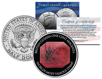 BRITISH GUIANA ONE-CENT MAGENTA STAMP JFK Kennedy Half Dollar Colorized US Coin