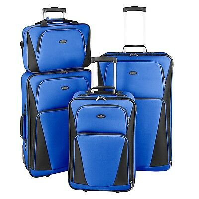 St Michelle 4pc Blue Rolling Luggage Suitcase Travel Bag Lock Set by US Traveler