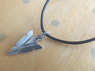 Leather Surf Necklace with Arrow  Arrowhead