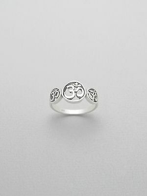 Sterling Silver .925 Round Om Ohm Aum Women's Fashion Ring Sizes 6-9