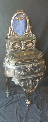 English paper maché mother of pearl toilet desk jewelry game table ebonized
