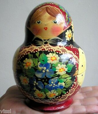 OLD ANTIQUE RUSSIAN TRADITIONAL HAND PAINTED WOODEN NESTING DOLL SET OF TEN