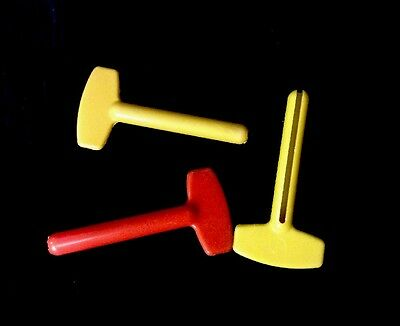 Lot Of 3 Vintage Plastic Toothpaste Key Squeezers.  Colors Look Very 70s.