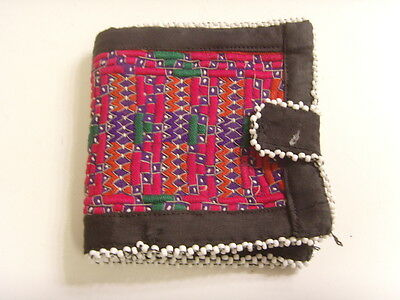 VINTAGE KUCHI TRIBAL EMBROIDERY BEADED WEDDING MONEY WALLET BELLYDANCE ATS 46603