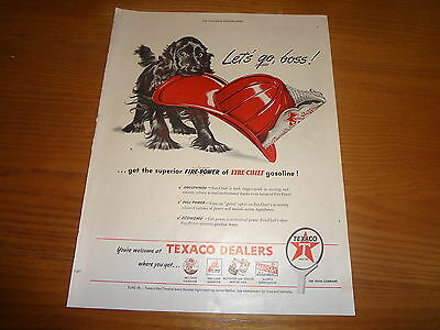 "1946 Texaco Oil Vintage Magazine Ad ""Let's go Boss"""