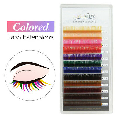 Individual Multi-Colored Eyelash Extensions Rainbow Color Lashes 0.15& 0.20mm C