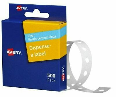 Avery Clear Reinforcement Rings 13mm Round Vinyl 500/Pack 934241*