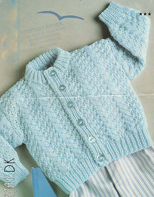"""Textured Cable  Button Up Baby Cardigan 16 - 22""""  DK Knitting Pattern"""