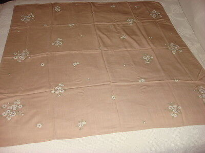 "Vintage Soft Cotton Blend Tablecloth SMALL WHITE FLORAL ON BROWN 46""x46"""