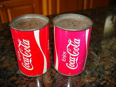 Vintage COCA COLA Tin Soda Can Shape SALT & PEPPER SHAKER SET