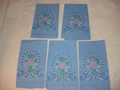 *5* Vintage COTTON EMBROIDERED MATCHING GUEST TOWELS Floral on Blue