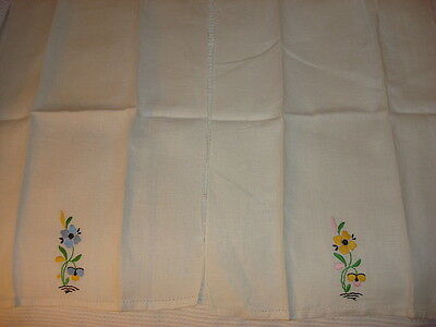 Antique Embroidered Linen GUEST TOWEL PAIR Blue & Yellow Floral