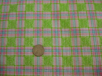 "Vintage Cotton Seersucker Fabric LIME GREEN,PINK,BLUE PLAID 1Yd/44"" Wide"