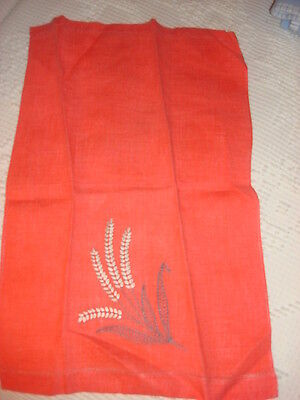 Antique Cotton Embroidered Towel GRAY FLORAL ON BRIGHT SALMON