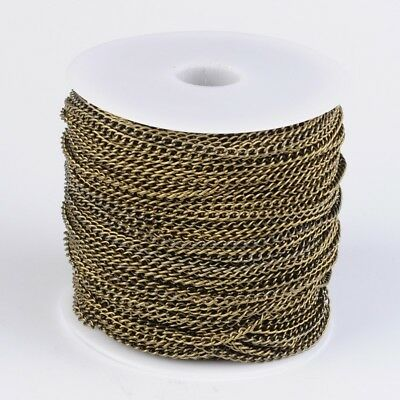 LOT de 2m - 200cm CHAINES chainettes BRONZE maillons 5x3mm SANS NICKEL COSTAUD !