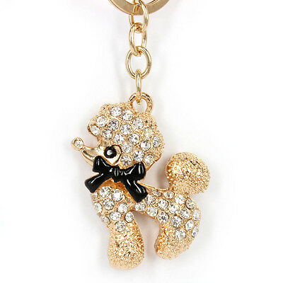 Poodle Butterfly Lovely Charm Pendent Rhinestone Crystal Purse Bag Key Chain Gif