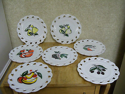 Lot of 7 Fostoria Milk Glass Painted Wall Plates w/ Fruit Designs - Open Lace
