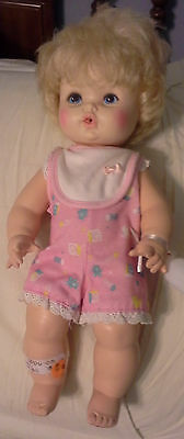 """15"""" SOFTINA ALL-VINYL DRINK & WET DOLL WITH BOTTLE...1971 EEGEE"""