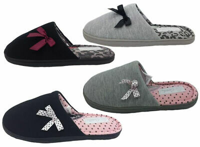Ladies Slippers Grosby Invisible Support Slide Spot Bow Mule Slipper Size 5-11