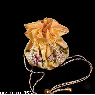 Fashion SILK JEWELRY EMBROIDERED TRAVEL BAG ROLL POUCH BROCADE BAG Yellow