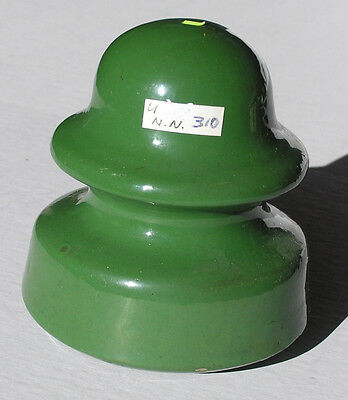 Unmarked U-310 Bright Green Porcelain Insulator Very Good Condition